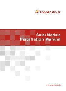 Solar Module Installation Manual
