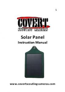 Solar Panel Instruction Manual