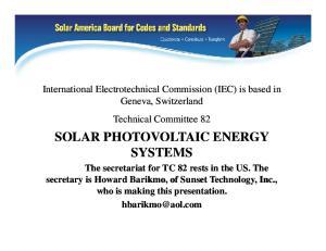 SOLAR PHOTOVOLTAIC ENERGY SYSTEMS