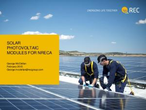 SOLAR PHOTOVOLTAIC MODULES FOR NRECA