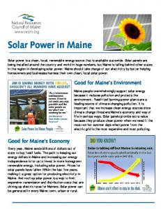 Solar Power in Maine. Good for Maine s Environment. Good for Maine s Economy