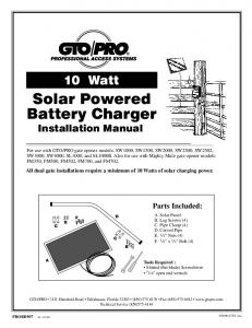 Solar Powered Battery Charger Installation Manual
