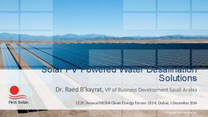 Solar PV Powered Water Desalination Solutions