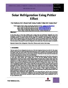 Solar Refrigeration Using Peltier Effect