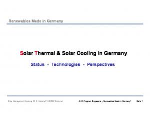 Solar Thermal & Solar Cooling in Germany