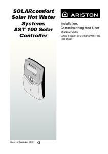 SOLARcomfort Solar Hot Water Systems AST 100 Solar Controller