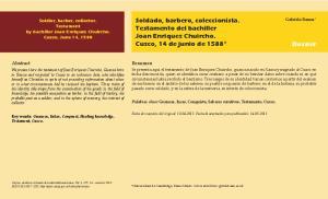 Soldado, barbero, coleccionista. Testamento del bachiller Joan Enriquez Chuircho. Cuzco, 14 de junio de