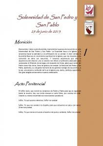 Solemnidad de San Pedro y. San Pablo
