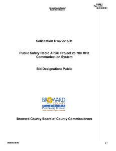 Solicitation R R1. Public Safety Radio APCO Project MHz Communication System. Bid Designation: Public
