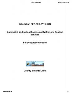 Solicitation RFP-PRO-FY Automated Medication Dispensing System and Related Services. Bid designation: Public