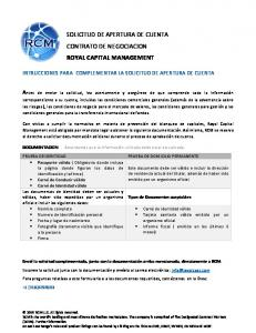 SOLICITUD DE APERTURA DE CUENTA CONTRATO DE NEGOCIACION ROYAL CAPITAL MANAGEMENT