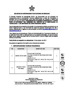 SOLICITUD DE INFORMACION PARA ESTUDIO DE MERCADO