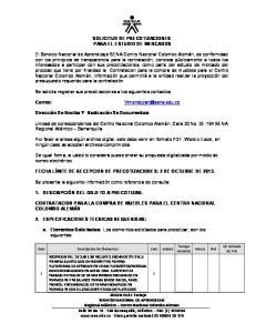 SOLICITUD DE PRECOTIZACIONES PARA EL ESTUDIO DE MERCADOS