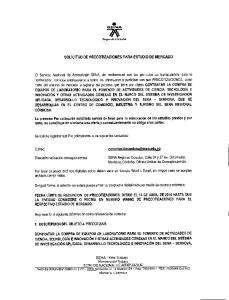 SOLICITUD DE PRECOTIZACIONES PARA ESTUDIO DE MERCADO