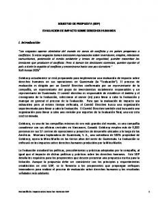 SOLICITUD DE PROPUESTA (SDP) EVALUACION DE IMPACTO SOBRE DERECHOS HUMANOS