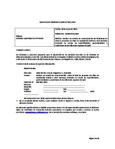 SOLICITUD DE PROPUESTA (SDP) N 003_2013. FECHA: 10 de enero de 2013