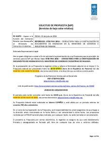 SOLICITUD DE PROPUESTA (SdP) (Servicios de bajo valor relativo)
