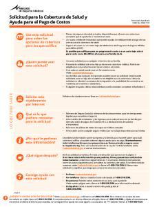 Solicitud para la Cobertura de Salud y Ayuda para el Pago de Costos
