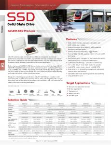 Solid State Drive. ADLINK SSD Products. Features. Target Applications. Selection Guide. SSDs