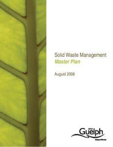 Solid Waste Management Master Plan. August 2008