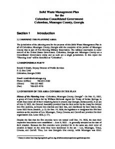 Solid Waste Management Plan for the Columbus Consolidated Government Columbus, Muscogee County, Georgia