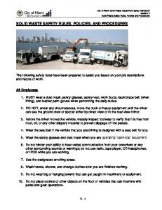 SOLID WASTE SAFETY RULES, POLICIES, AND PROCEDURES