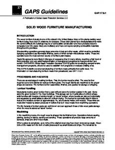SOLID WOOD FURNITURE MANUFACTURING