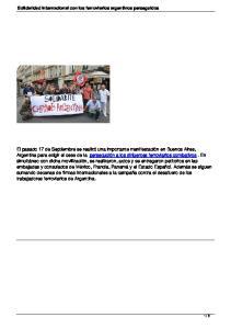 Solidaridad Internacional con los ferroviarios argentinos perseguidos