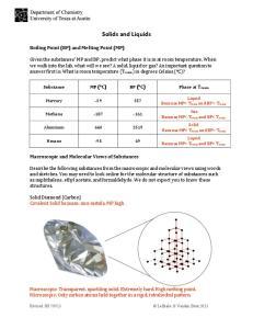 Solids and Liquids BP ( C)