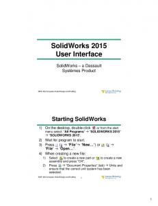 SolidWorks 2015 User Interface