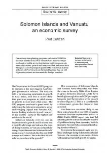 Solomon Islands and Vanuatu: an economic survey