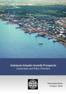 Solomon Islands Growth Prospects Constraints and Policy Priorities