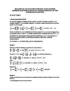 SOLUCION DE UNA ECUACION O SISTEMA DE ECUACIONES DIFERENCIALES PARCIALES EN UNA VARIABLE ESPACIAL DE TIPO PARABOLICO O ELIPTICO