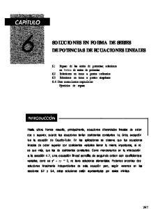 SOLUCIONES EN FORMA DE SERIES DE POTENCIAS DE ECUACIONES LINEALES