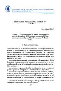 SOLUCIONES NEGOCIADAS A CONFLICTOS LEGALES
