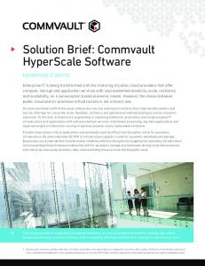 Solution Brief: Commvault HyperScale Software