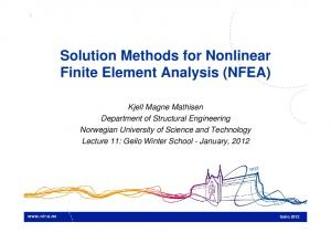 Solution Methods for Nonlinear Finite Element Analysis (NFEA)