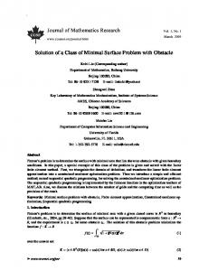 Solution of a Class of Minimal Surface Problem with Obstacle