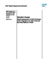 Solution Scope. SAP Rapid Deployment Solution. Rapid deployment of SAP Business Suite Integration for SAP Financial Services Network V3