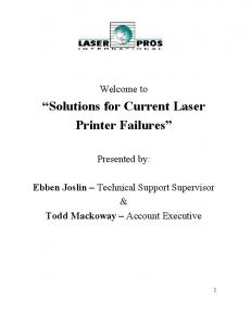 Solutions for Current Laser Printer Failures