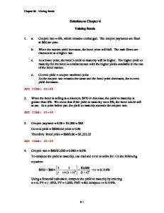 Solutions to Chapter 6. Valuing Bonds