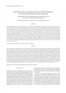Solvent Extraction of Light Rare Earths from Acidic Medium by Di-(2-ethylhexyl) Phosphoric Acid in Kerosene