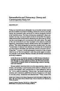 Somaesthetics and Democracy: Dewey and Contemporary Body Art