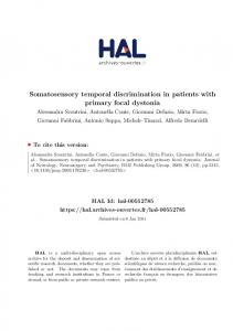 Somatosensory temporal discrimination in patients with primary focal dystonia