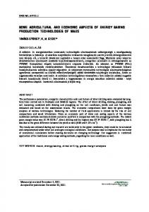 SOME AGRICULTURAL AND ECONOMIC ASPECTS OF ENERGY SAVING PRODUCTION TECHNOLOGIES OF MAIZE