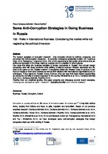 Some Anti-Corruption Strategies in Doing Business in Russia