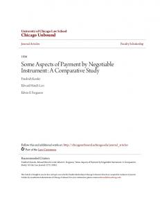 Some Aspects of Payment by Negotiable Instrument: A Comparative Study