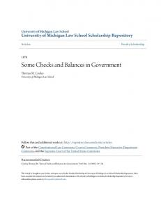 Some Checks and Balances in Government
