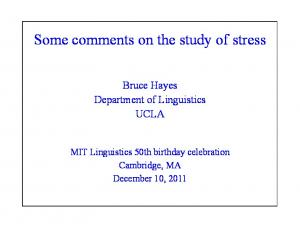Some comments on the study of stress