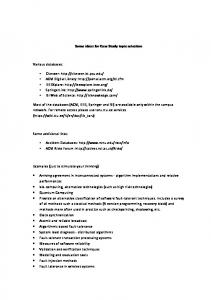 Some ideas for Case Study topic selection